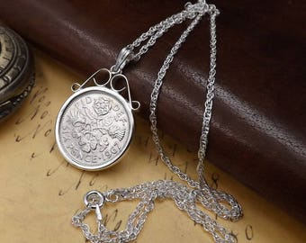 """1967 Sixpence Coin Sterling Silver Bezel Set Necklace on 18"""" Sterling Silver Rope Chain 50th Birthday Gift"""