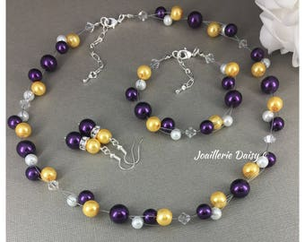 Floating Necklace Purple Yellow Necklace, Pearl Necklace Illusion Necklace Bridesmaid Jewelry Bridal Party Gift Purple Jewelry Gift for Her