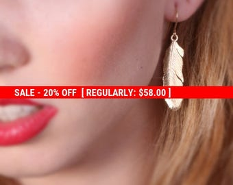 SALE 20% OFF feather earrings, long feather earrings, dangle earrings feather, gold filled earrings, feather jewelry - 20072