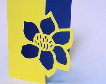 """The card """"The lace flower"""" blue and yellow"""