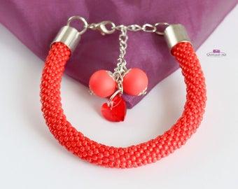 red bracelet, beaded bracelet, christmas bracelet, women bracelet, seed bead bracelet, swarovski bracelet, crochet bracelet, pastel bracelet