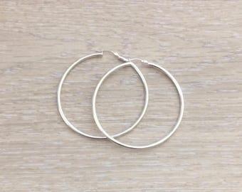 Large Sterling Silver Hoops, Hoops, 925 Sterling Silver Earring