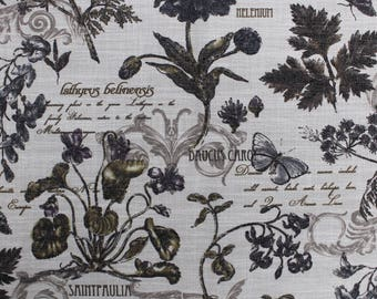 Sand Vintage Floral Letter Printed Pattern on 55'' Cotton Canvas Fabric by the Yard - Style 3239