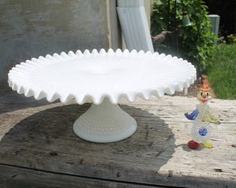 Milk Glass Cake Stand, Milk Glass Pedestal Cake Plate, Fenton Cake Stand Hobnail Glass Crimped Edge Weddings Holidays Fenton Art Glass