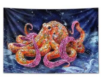 "Octopus Tapestry - Large Format Octopus Art -  ""Poisonous Bubblegum"" by Black Ink Art"