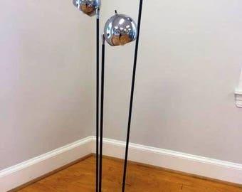 Mid Century Modern Era Floor Lamp with 3 Swiveling Chrome Ball Shades, Robert Sonneman Style, ca 1960s