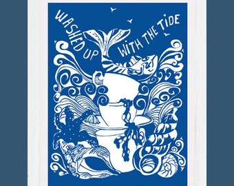 Washed up with the tide- art print signed by the artist- Tracy Evans, mounted