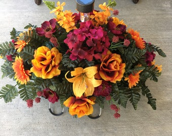 Cemetery Flowers with Solar Light..Cemetery Saddle..Memorial Flowers..Headstone Flowers..Tombstone Saddle..In Loving Memory