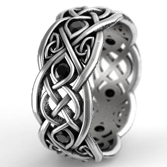 Infinity Wedding Band With Black Spinels, 925 Sterling Silver Celtic Ring, Unique Wedding Ring, Celtic Wedding Band, Handcrafted Size CR1052