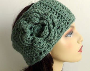 Crochet flower headband, flower headwrap, crochet ear warmer, adjustable, earmuff, sage green, womens, teens, winter accessories