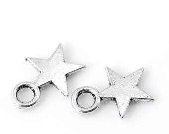 50 small stars of 11mm (ring), silver
