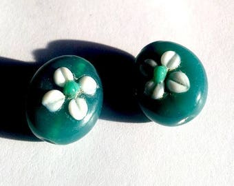 Set of 9 beads, Blue-Green 15mm, oval with flowers