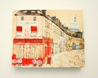 PARIS CANVAS ART, Paris Restaurant, French Cafe Print, Mixed Media Painting, Le Consulat Montmartre, Parisian Wall Art, Signed Box Canvas