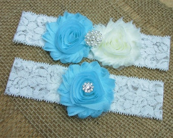 SALE -Aqua Wedding Garter Set, Country Chic Wedding Garter Set, Wedding Bridal Garter Set