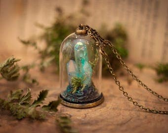 Aura Quartz Terrarium Necklace, Wish Necklace, Turquoise Quartz, Bottle Necklace, Terrarium Jewelry, Moss Terrarium, Real Moss Necklace