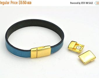 ON SALE 10MM Magnetic Clasp (updated look) - Nickel Free Gold - for use with Flat Leather Cord up to 10Mm (Qty.1)