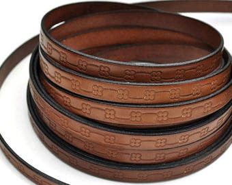 """10MM Floral Loop Embossed Leather Cord - Deep Cognac/Black - High Quality Leather Cord - Qty. 2ft/24"""""""