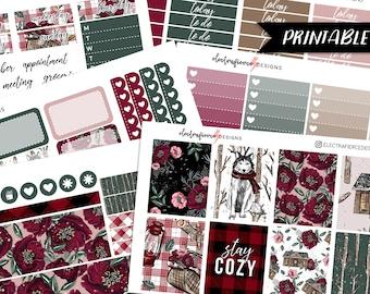 Cozy Cottage - PRINTABLE Planner sticker kit for Erin Condren    winter plaid floral christmas wolf