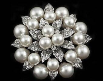 Pearl and rhinestone brooch pin DIY brooch bouquet wedding - Brooch Wedding Supply DIY -