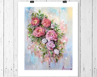 Floral print art, floral print wall art, floral print vintage, oil painting print, pink flower print, vintage floral print, roses print,