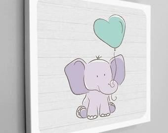 Elephant with Balloon Nursery Canvas Wrap, Purple Elephant, Mint Green Balloon, Square Canvas, Elephant Kids Decor, Elephant Nursery Decor