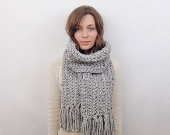 SALE Chunky Knit Scarf with Fringe Wool Scarf | THE BRUSSELS