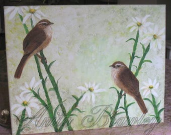 Pair of Wren Birds in the Daisies ~ Hand-painted - shipping included