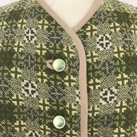 Welsh Wool waistcoat 1970s green wool vest cream sage woven Wales vintage gilet UK 18 20 boho jerkin traditional woollen handmade