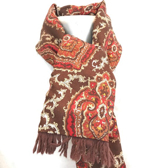 Vintage gents scarf Paisley wool back silky scarf brown long oblong tassel Mod vintage gent cravat Goodwood scooter gentleman