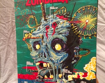 """ZOMBIELAND   Hand Painted     Acrylic Paint on Stretched Canvas    12"""" x 16"""""""