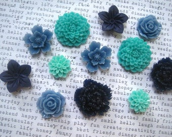 Magnets, 12 pc Flower Magnets, Cornflower Blue, Teal, Aqua and Navy, Locker Magnets, Housewarming Gifts, Hostess Gifts, Wedding Favors