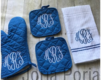 Personalized Kitchen Towel, Oven Mitt and Pot Holders