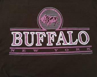 Vintage 1980s Buffalo NY Black Tee Size Medium M Blue Purple wny Western NY USA Soft T Shirt