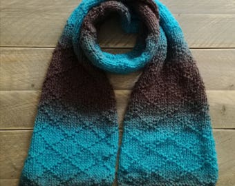 Ombre knitted scarf with a  blue and brown gradient