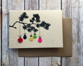 Button Ornaments on Evergreen Branch Christmas Card Hand Screen Printed