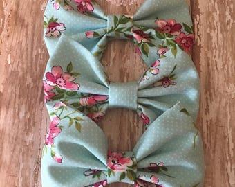 Light Aqua Polka Dot Floral Bow, Girls Bow, Toddler Bow