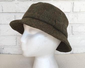 Vintage Green Tweed Wool Bucket Hat