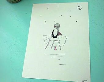 Ballet Star-9x12 illustration- wall art- nursery art