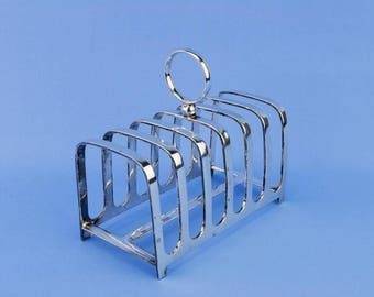 Silver Plated Toast Rack Art Deco English 1920s Medium 6 Bread Slices Square