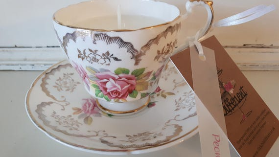 Tea cup candle. Scented soy wax vegan vintage tea cup candle, with peony.  Vegan candles. Organic soy. Made in Wales