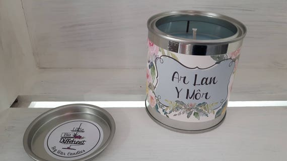 Ar Lan Y Mor candle.  Red roses, lilies, sea breeze candle. Vegan candle. Welsh candle.  Soy candle.  Mothers Day.  Handmade in Wales, UK
