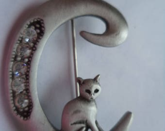 Vintage Signed JJ Silver pewter/Rhinestone Initial C Cat Brooch/Pin