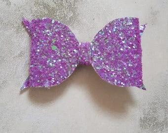 Medium lilac purple glitter hair bow leather look hair bow clip
