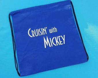 "Drawstring Cinch Backpack Knapsack for Disney Cruise Fish Extender gift - FE Gift - ""Cruisin' with Mickey"""