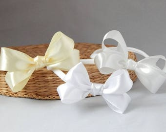 Baby bow for christening, baptism satin bow on nylon skinny elastic by Fairy Dust