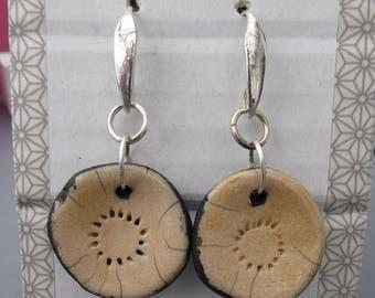 Raku beige Flower Earrings