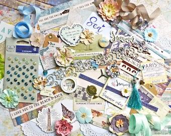 Scrapbook Kit / Prima St. Tropez / Scrapbook Paper 12x12 / Scrapbooking Supplies / Travel Scrapbook / Beach / Vacation / Travel Journal