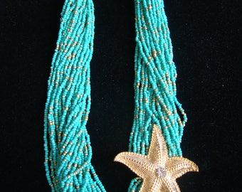 Turquoise and Starfish Necklace