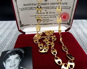 Jackie Kennedy GP Necklace - 24K Anchor Links with Box and COA