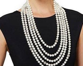 "Audrey Hepburn 25.5"" NECKLACE - Simulated Pearl Necklace"